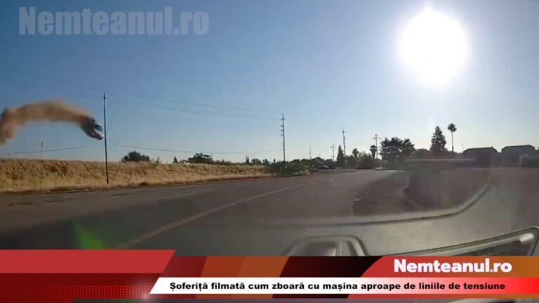 VIDEO-Șoferiță filmată cum zboară cu mașina aproape de liniile de tensiune, pe o autostradă din California.